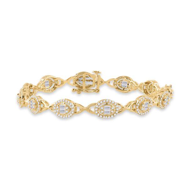 Baguette Diamond Oval Link Bracelet 2 Cttw 14kt Yellow Gold