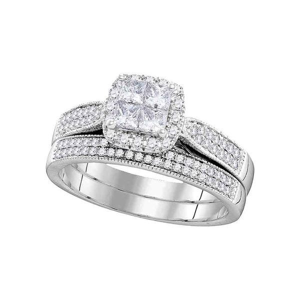 Princess Diamond Halo Bridal Wedding Ring Band Set 3/4 Cttw 14kt White Gold