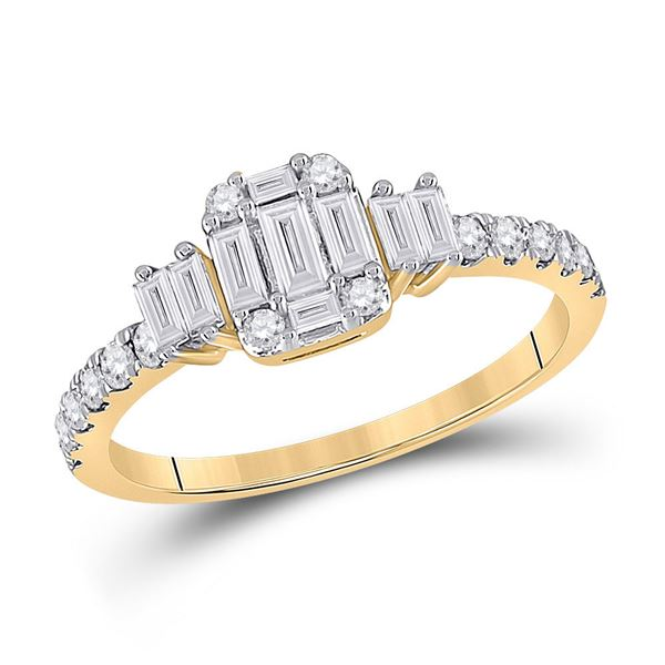 Baguette Diamond Cluster Ring 5/8 Cttw 14kt Yellow Gold