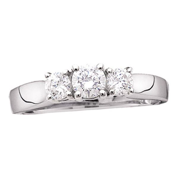Diamond 3-stone Bridal Wedding Engagement Ring 1 Cttw 14kt White Gold
