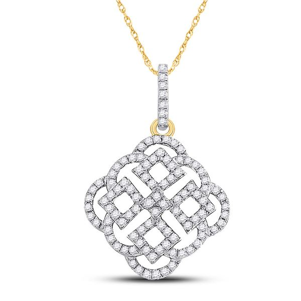 Diamond Offset Square Pendant 1/2 Cttw 10kt Yellow Gold