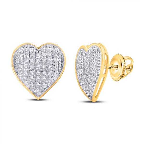 Diamond Heart Cluster Earrings 1/4 Cttw 10kt Yellow Gold