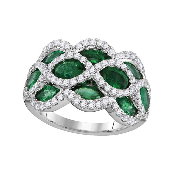 Marquise Emerald Diamond Fashion Ring 3 Cttw 18kt White Gold