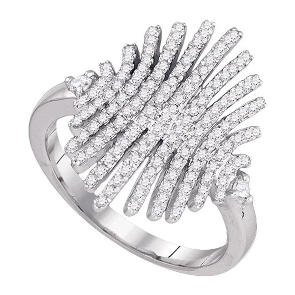 Wide Luxury Cocktail Band Ring 1/2 Cttw 10k White Gold