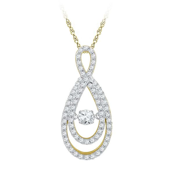 Diamond Moving Twinkle Teardrop Pendant 3/4 Cttw 10kt Yellow Gold