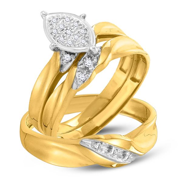 His Hers Diamond Cluster Matching Wedding Set 1/10 Cttw 10kt Yellow Gold