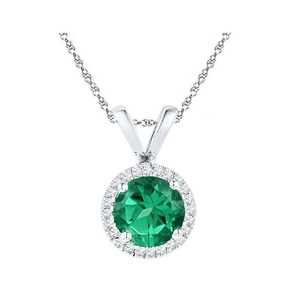 Lab-Created Emerald Solitaire & Diamond Halo Pendant 7/8 Cttw 10k White Gold