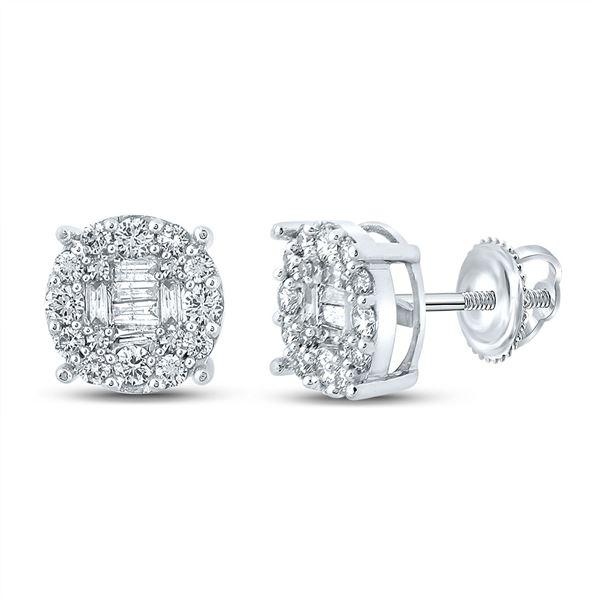 Mens Baguette Diamond Cluster Earrings 5/8 Cttw 10kt White Gold
