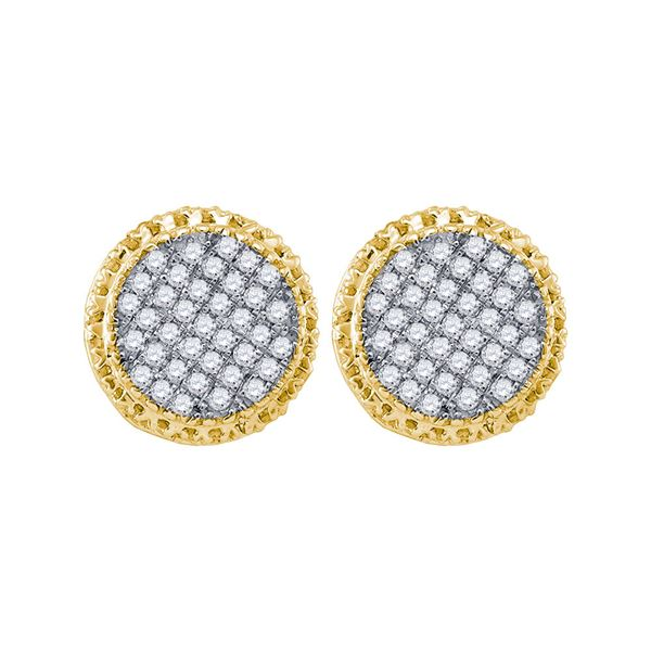 Mens Diamond Circle Cluster Earrings 1/3 Cttw 10kt Yellow Gold