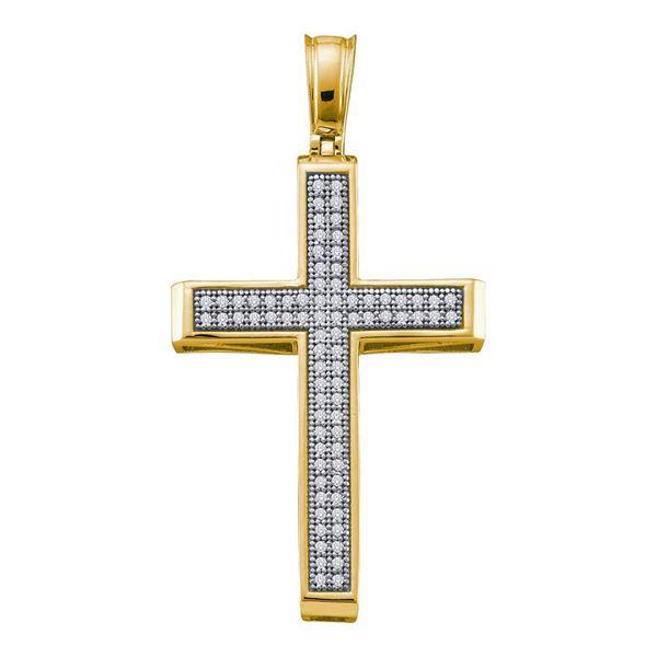 Diamond Cross Religious Pendant 1/4 Cttw 10kt Yellow Gold