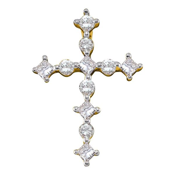 Princess Diamond Cross Religious Pendant 1/2 Cttw 14kt Yellow Gold