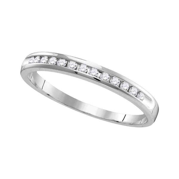 Diamond Slender Single Row Wedding Band 1/6 Cttw 14kt White Gold