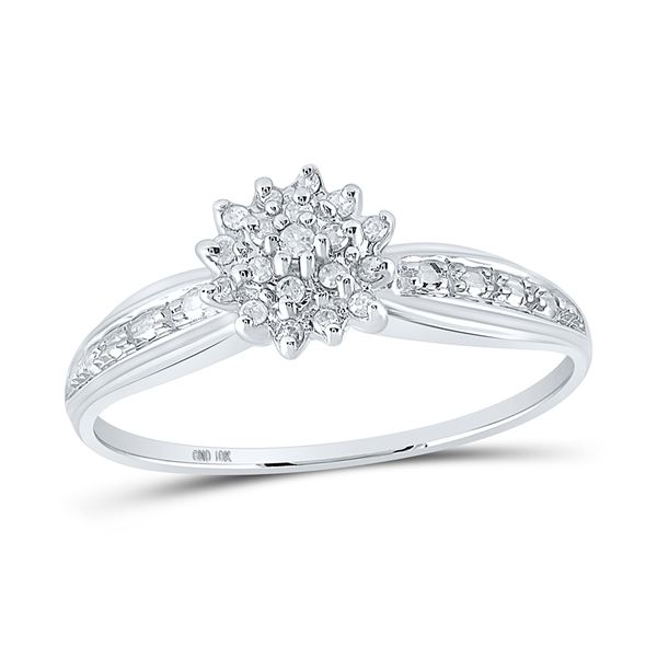 Diamond Cluster Ring 1/10 Cttw 10kt White Gold