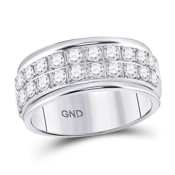 Diamond Double Row Band Ring 1 Cttw 10kt White Gold