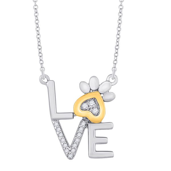 Diamond Paw Love Fashion Necklace 1/20 Cttw 10kt Two-tone Gold