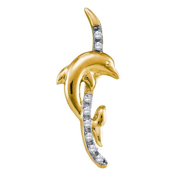 Diamond Dolphin Pendant 1/10 Cttw 10kt Yellow Gold