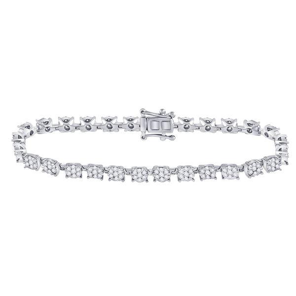 Diamond Cluster Tennis Bracelet 3 Cttw 14kt White Gold