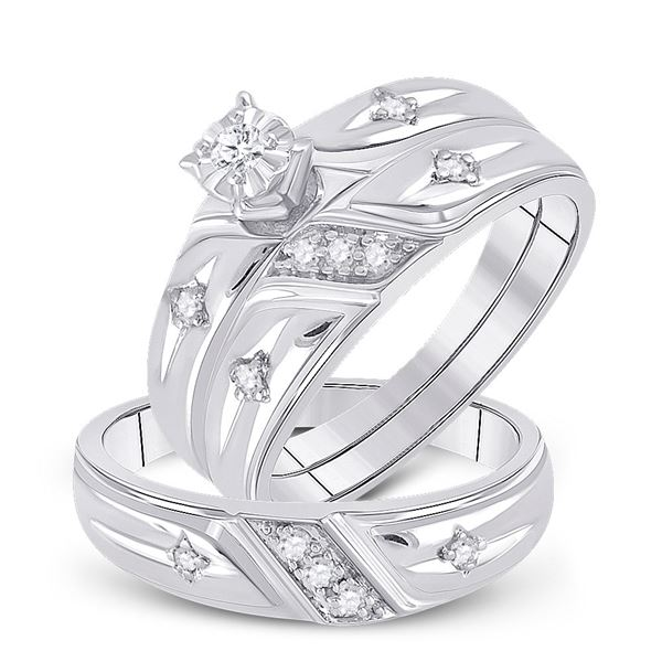 Sterling Silver His Hers Diamond Cross Matching Wedding Set 1/5 Cttw Sterling Silver