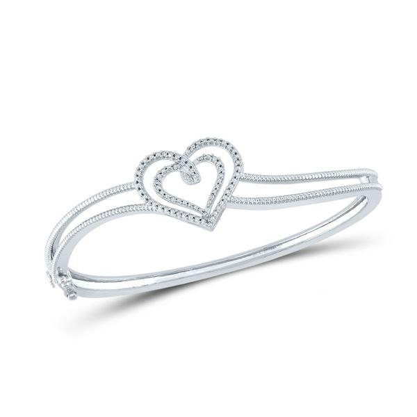 Diamond Double Heart Bangle Bracelet 1/20 Cttw Sterling Silver