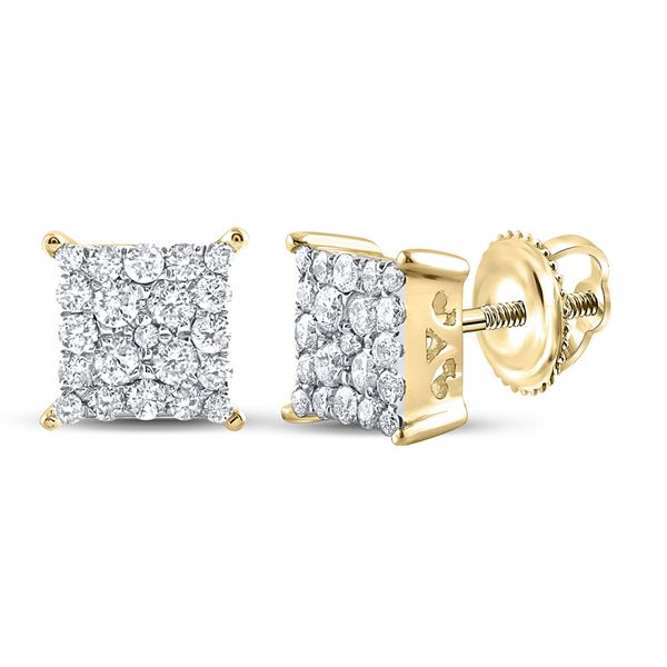 Diamond Square Earrings 1/4 Cttw 10kt Yellow Gold