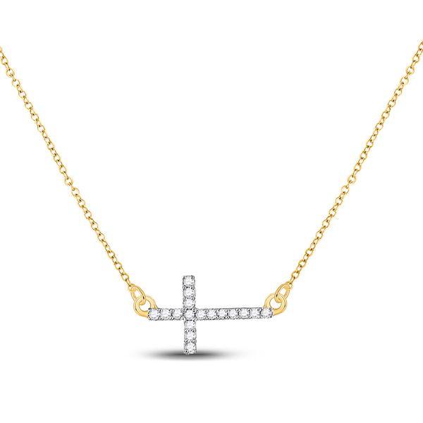 Diamond Cross Pendant Necklace Chain 1/10 Cttw 10kt Yellow Gold