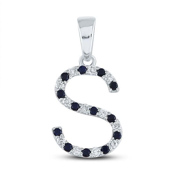 Blue Sapphire Initial S Letter Pendant 1/4 Cttw 10kt White Gold