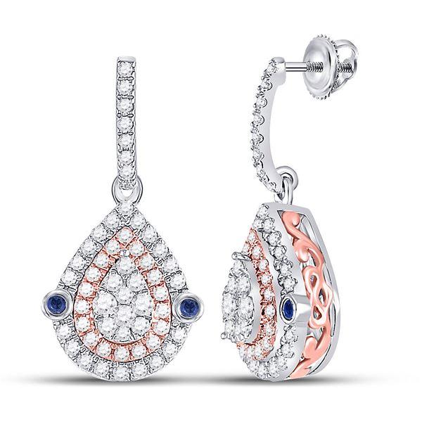 Diamond Teardrop Dangle Earrings 5/8 Cttw 10kt Two-tone Gold