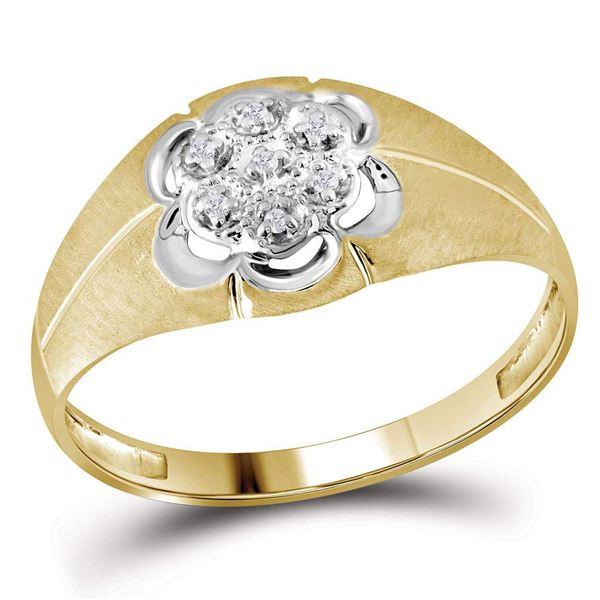Mens Diamond Matte Cluster Ring .02 Cttw 14kt Yellow Gold