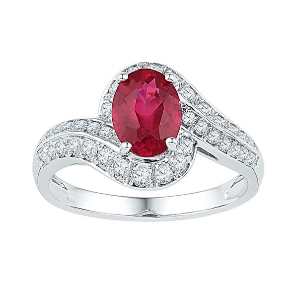Oval Lab-Created Ruby Solitaire Ring 2 Cttw 10kt White Gold