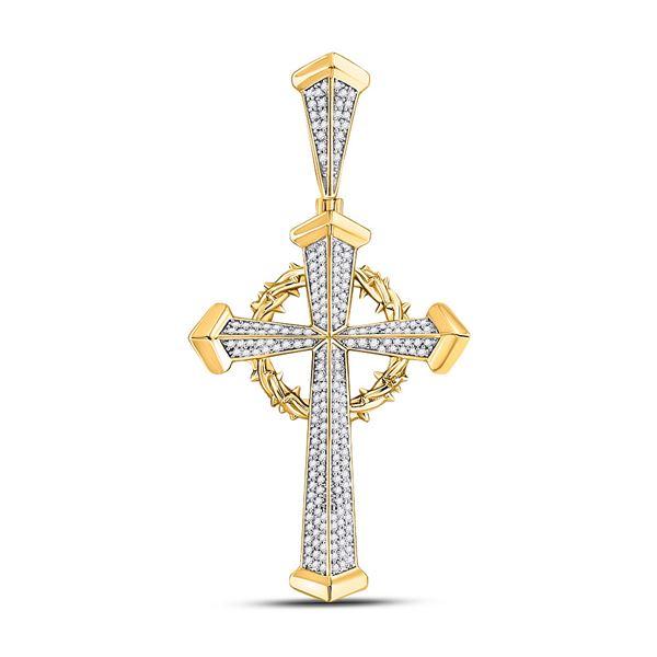 Mens Diamond Gothic Cross Charm Pendant 1/2 Cttw 10kt Yellow Gold