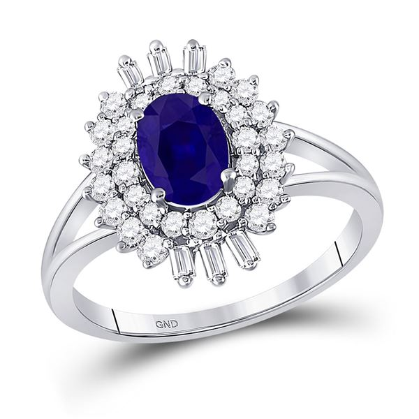 Oval Blue Sapphire Diamond Solitaire Ring 1-1/3 Cttw 14kt White Gold
