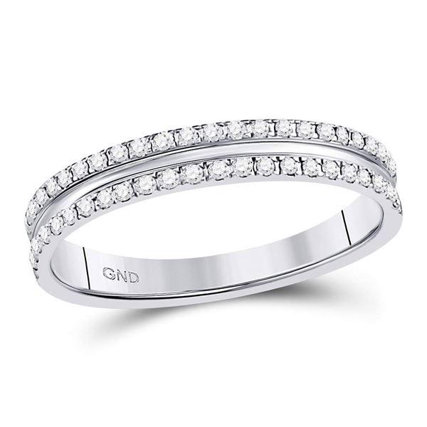 Diamond Double Row Comfort Wedding Band 1/4 Cttw 14kt White Gold
