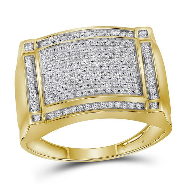 Mens Diamond Rectangle Cluster Ring 1/2 Cttw 10kt Yellow Gold