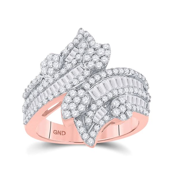 Baguette Diamond Bypass Cluster Fashion Ring 1-1/3 Cttw 14kt Rose Gold