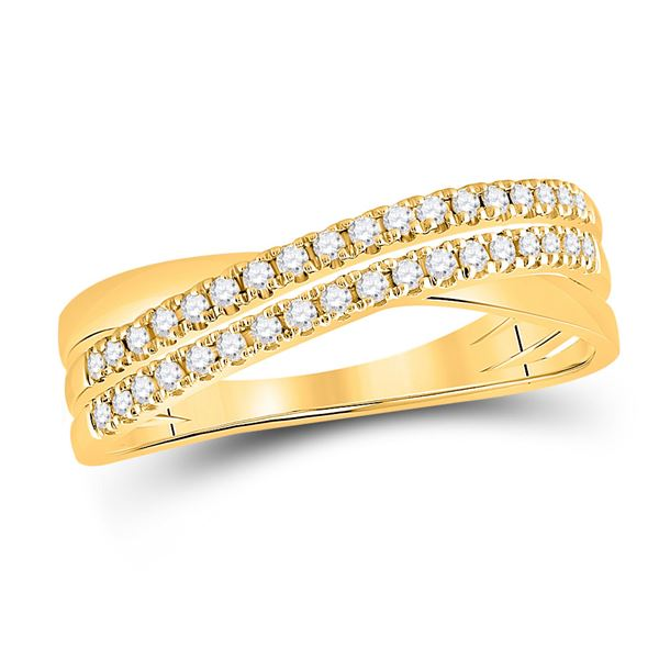 Diamond Crossover Band Ring 1/5 Cttw 14kt Yellow Gold