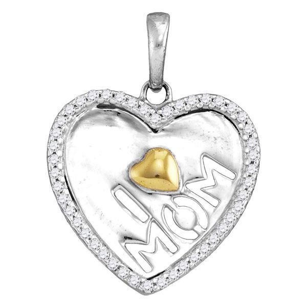 Diamond I Love Mom Heart Pendant 1/6 Cttw Sterling Silver