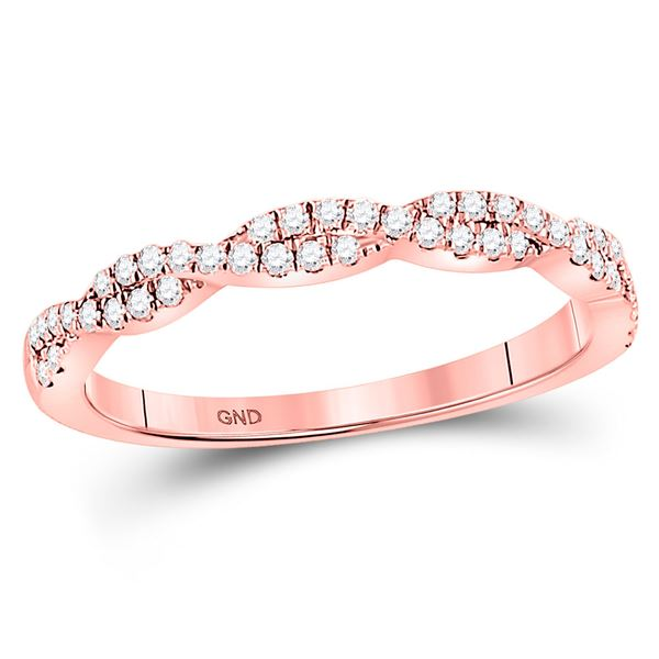 Diamond Woven Twist Stackable Band Ring 1/4 Cttw 10kt Rose Gold