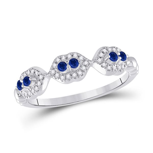 Blue Sapphire Diamond Band Ring 1/4 Cttw 14kt White Gold