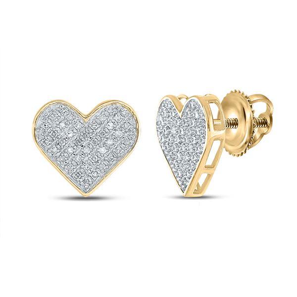 Diamond Heart Earrings 1/4 Cttw Yellow-tone Sterling Silver