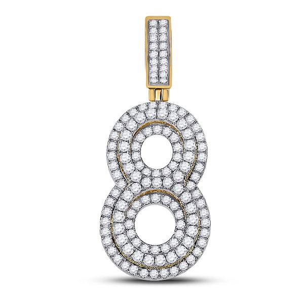Mens Diamond Number 8 Charm Pendant 1-5/8 Cttw 10kt Yellow Gold