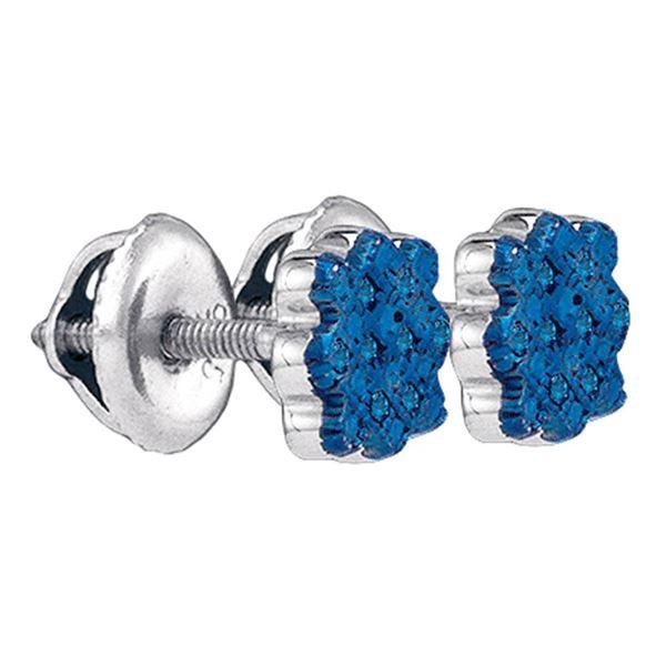 Blue Color Enhanced Diamond Cluster Stud Earrings 1/20 Cttw Sterling Silver