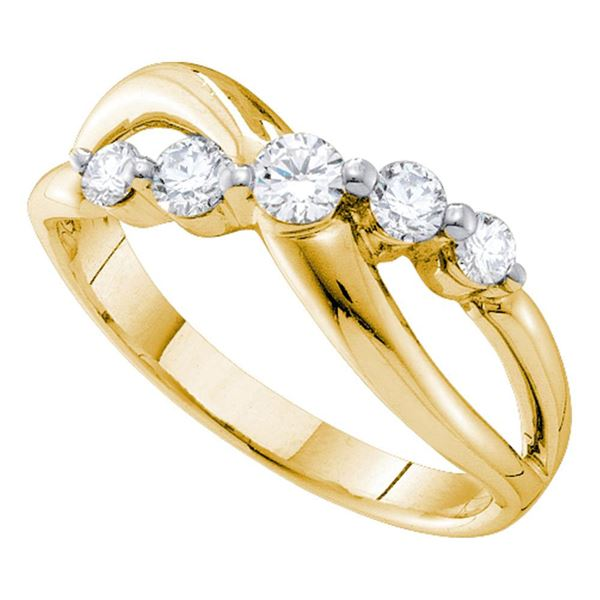 Diamond 5-stone Crossover Band Ring 1/2 Cttw 14kt Yellow Gold
