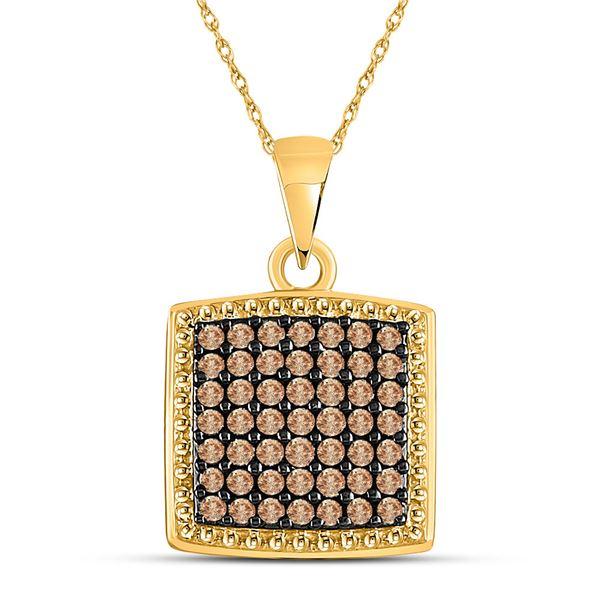 Brown Diamond Square Pendant 1/2 Cttw 10kt Yellow Gold