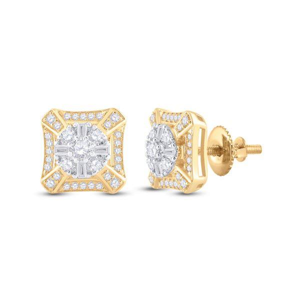 Mens Baguette Diamond Square Cluster Earrings 3/4 Cttw 14kt Yellow Gold
