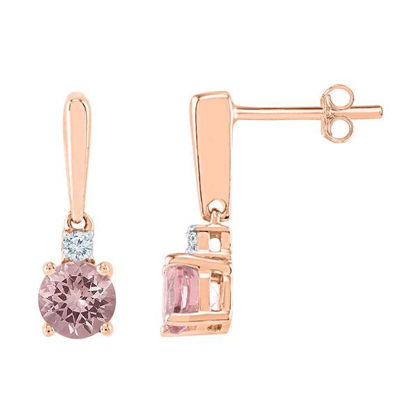 Lab-Created Morganite Dangle Earrings 3/8 Cttw 10kt Rose Gold