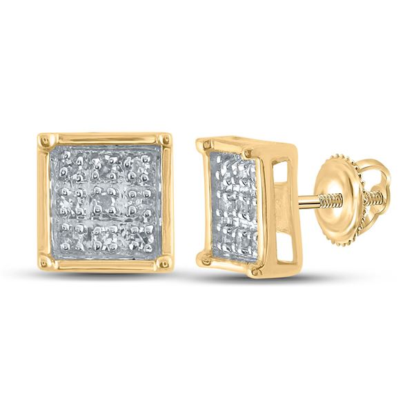Diamond Square Earrings 1/20 Cttw Yellow-tone Sterling Silver