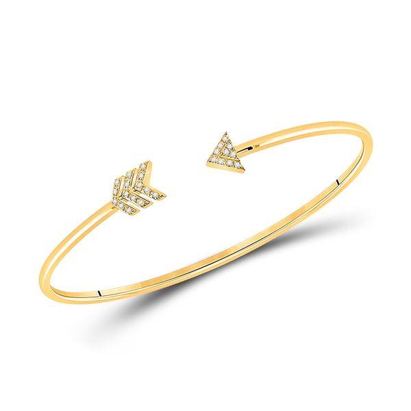Diamond Arrow Bangle Bracelet 1/10 Cttw 10kt Yellow Gold