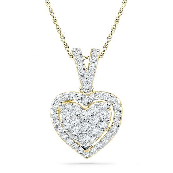 Diamond Heart Pendant 1/5 Cttw 10kt Yellow Gold