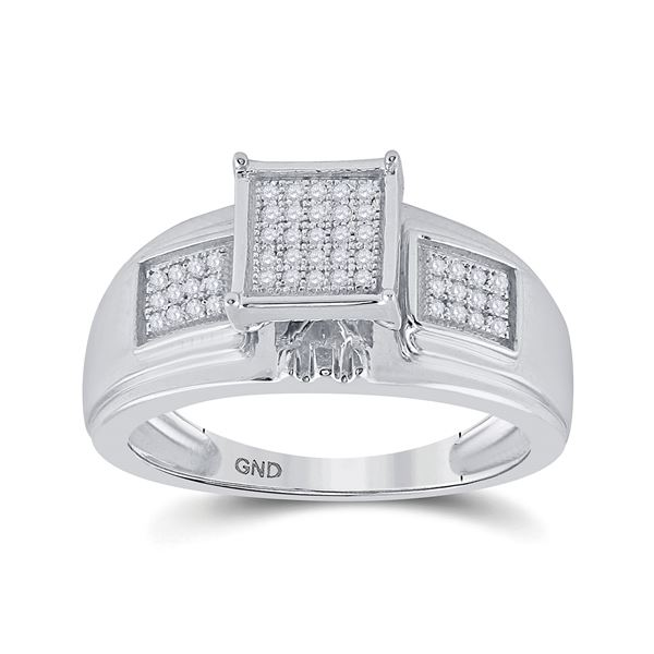 Diamond Square Ring 1/6 Cttw Sterling Silver