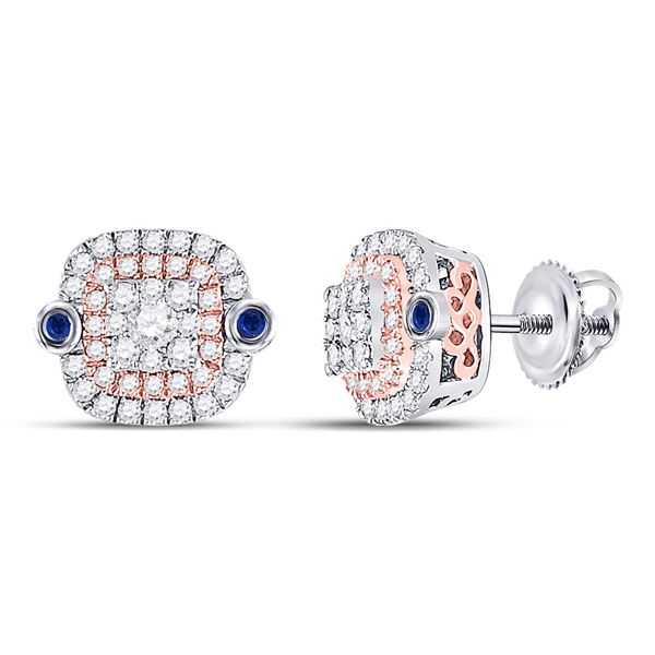 Diamond Square Halo Earrings 1/2 Cttw 10kt Two-tone Gold
